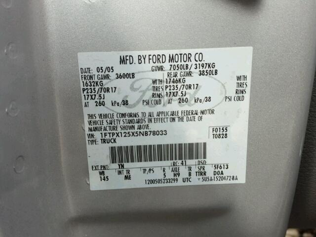 1FTPX125X5NB78033 - 2005 FORD F150 SILVER photo 10