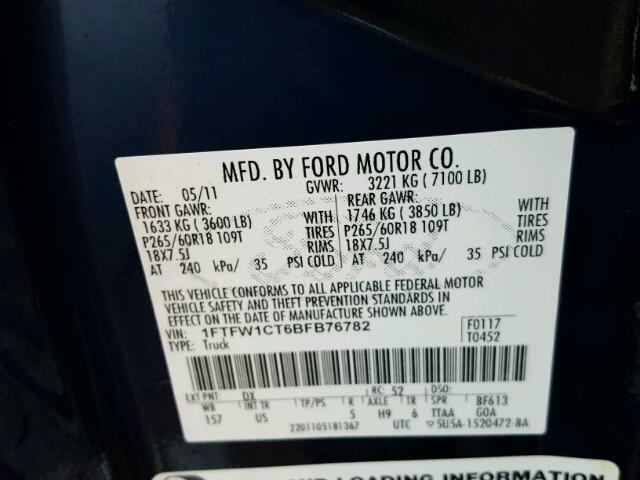 1FTFW1CT6BFB76782 - 2011 FORD F150 SUPER BLUE photo 10