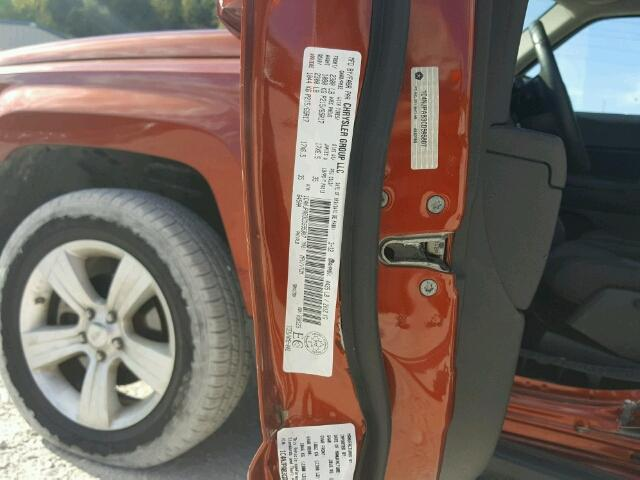 1C4NJPAB3CD595807 - 2012 JEEP PATRIOT ORANGE photo 10