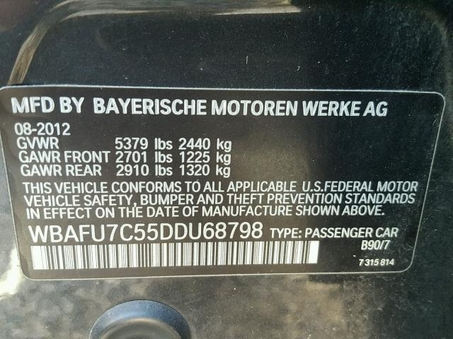 WBAFU7C55DDU68798 - 2013 BMW 535 XI CHARCOAL photo 10