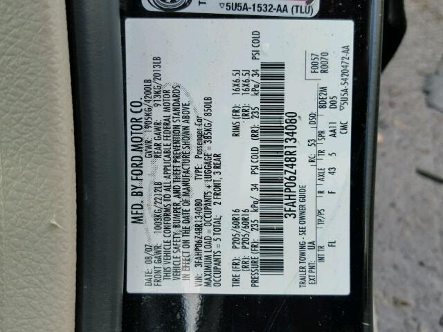 3FAHP06Z48R134080 - 2008 FORD FUSION S BLUE photo 10