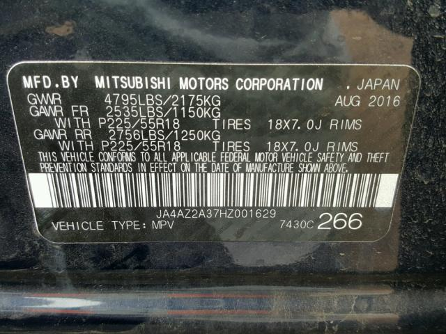 JA4AZ2A37HZ001629 - 2017 MITSUBISHI OUTLANDER BLUE photo 10