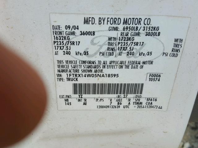 1FTRX14W05NA18595 - 2005 FORD F150 WHITE photo 10