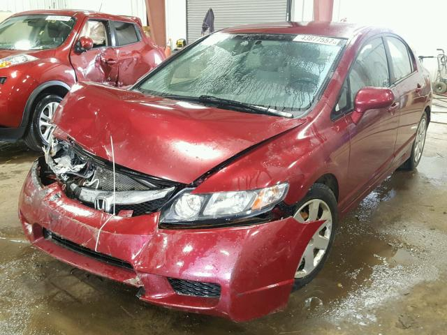 19XFA1F50AE000900 - 2010 HONDA CIVIC LX RED photo 2