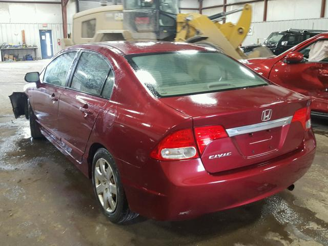 19XFA1F50AE000900 - 2010 HONDA CIVIC LX RED photo 3