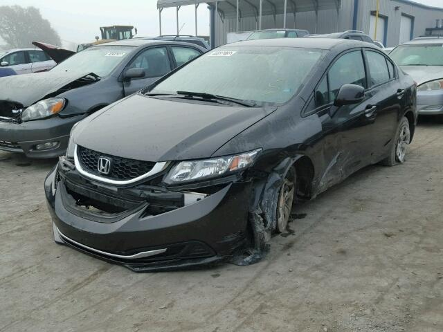 19XFB2F52DE005037 - 2013 HONDA CIVIC LX BLACK photo 2