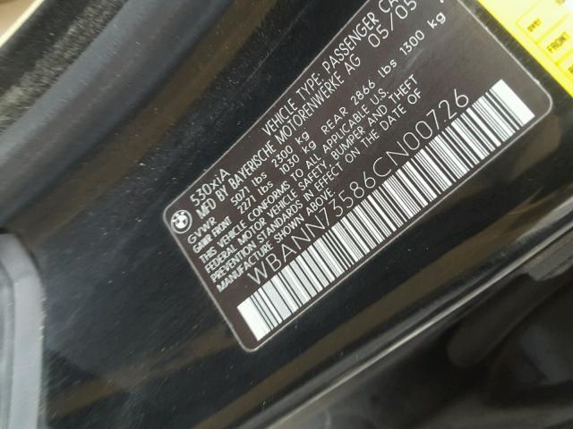 WBANN73586CN00726 - 2006 BMW 530 XIT BLACK photo 10