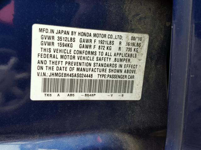 JHMGE8H45AS024448 - 2010 HONDA FIT BLUE photo 10