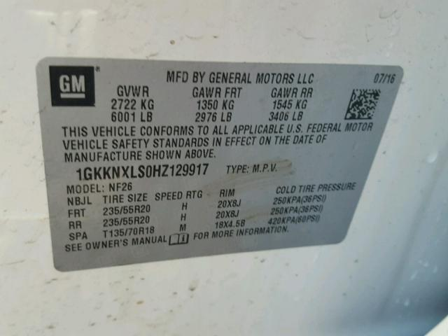 1GKKNXLS0HZ129917 - 2017 GMC ACADIA DEN WHITE photo 10