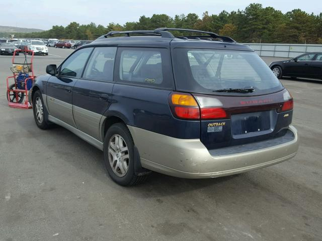 4S3BH665727638103 - 2002 SUBARU LEGACY OUT BLUE photo 3