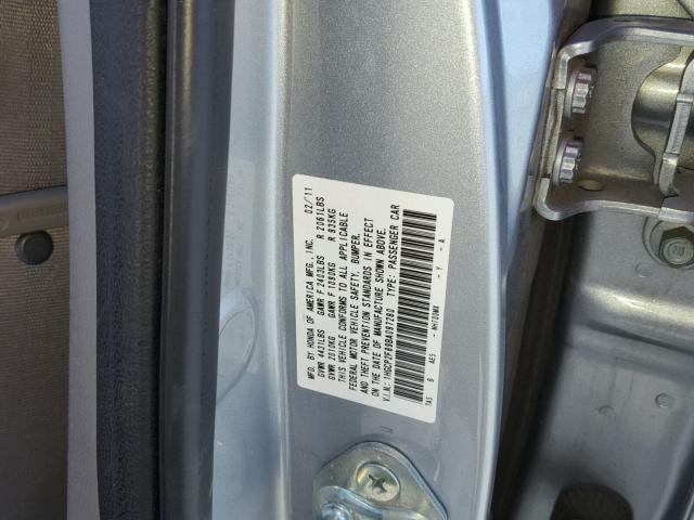 1HGCP2F89BA097280 - 2011 HONDA ACCORD SILVER photo 10