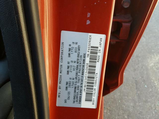 JM1BK323X51340608 - 2005 MAZDA 3 S RED photo 10