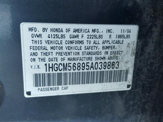 1HGCM56895A039863 - 2005 HONDA ACCORD EX GRAY photo 10