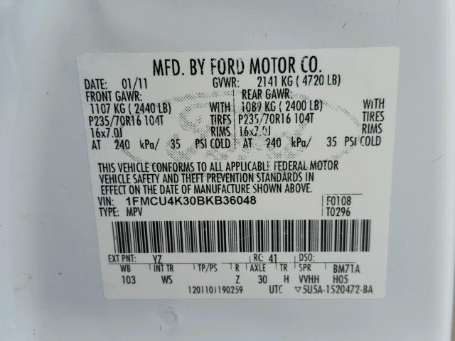1FMCU4K30BKB36048 - 2011 FORD ESCAPE HYB WHITE photo 10