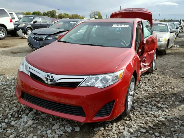 4T4BF1FK3CR252927 - 2012 TOYOTA CAMRY RED photo 2