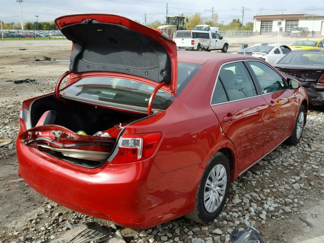 4T4BF1FK3CR252927 - 2012 TOYOTA CAMRY RED photo 4
