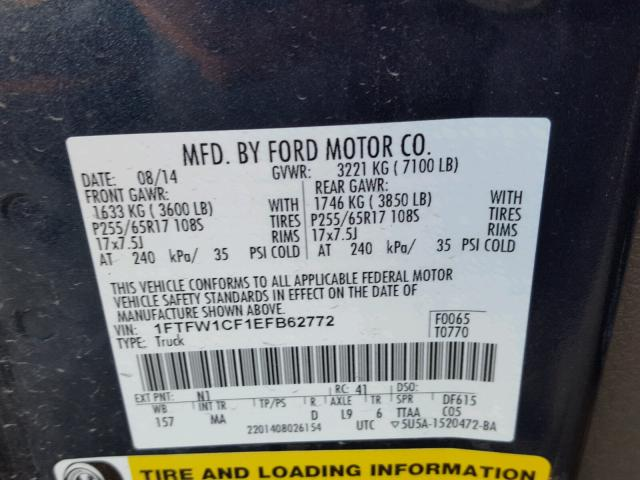 1FTFW1CF1EFB62772 - 2014 FORD F150 BLUE photo 10