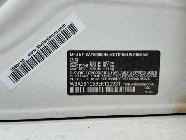 WBA3B1C58EK130931 - 2014 BMW 320 I WHITE photo 10