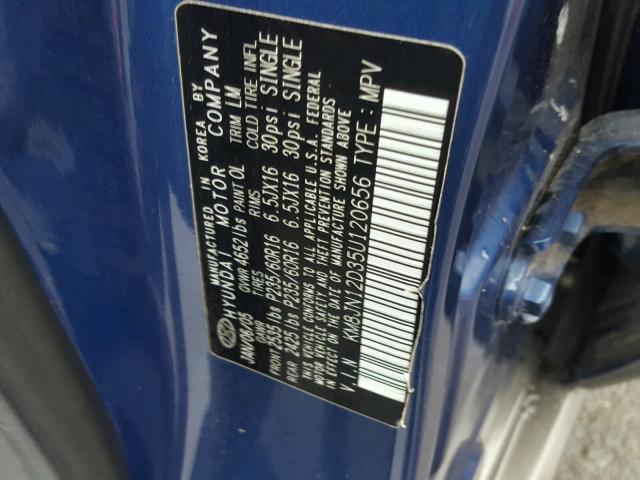 KM8JN12D35U120656 - 2005 HYUNDAI TUCSON GLS BLUE photo 10