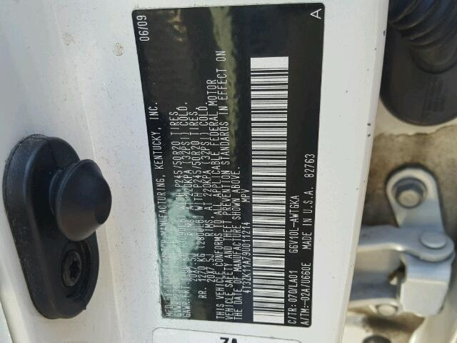 4T3ZK11A79U011214 - 2009 TOYOTA VENZA WHITE photo 10