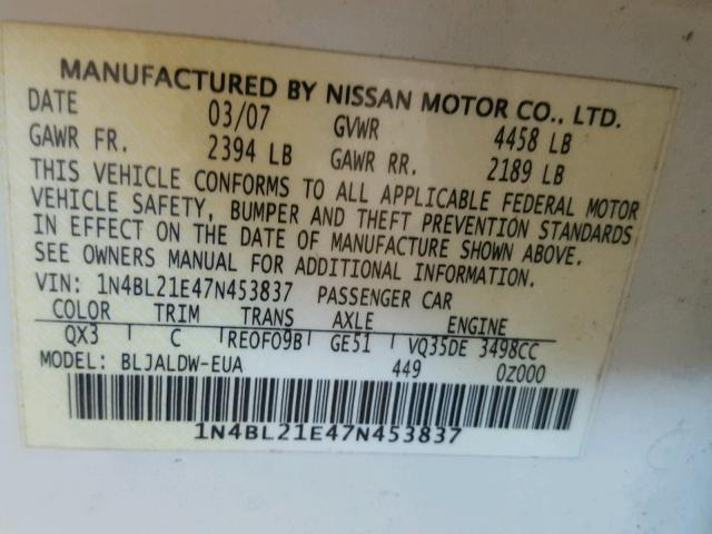 1N4BL21E47N453837 - 2007 NISSAN ALTIMA 3.5 WHITE photo 10