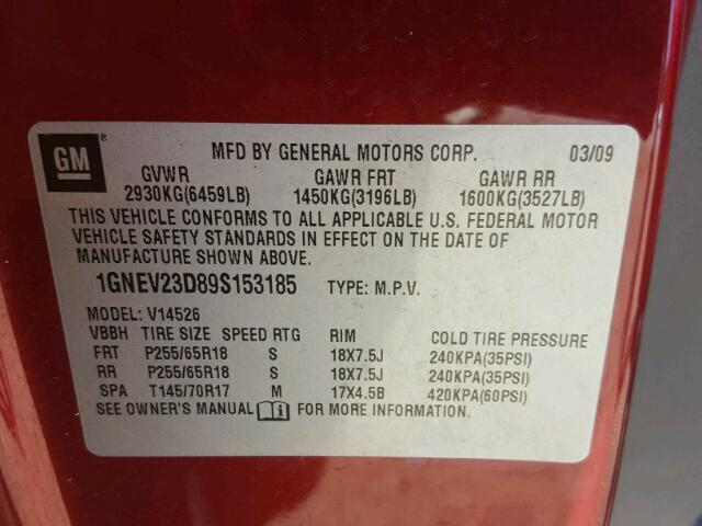1GNEV23D89S153185 - 2009 CHEVROLET TRAVERSE RED photo 10