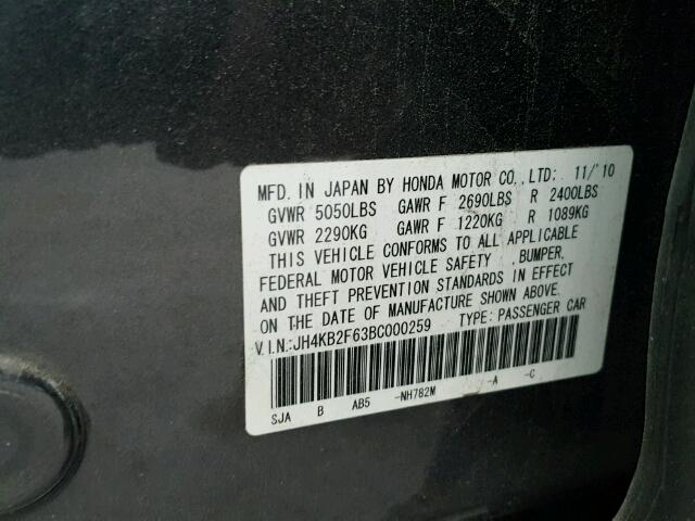 JH4KB2F63BC000259 - 2011 ACURA RL CHARCOAL photo 10