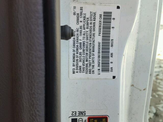 2HGFG1B61BH503047 - 2011 HONDA CIVIC LX WHITE photo 10