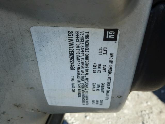 2G1WW12E029224460 - 2002 CHEVROLET MONTE CARL SILVER photo 10