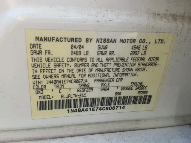1N4BA41E74C906714 - 2004 NISSAN MAXIMA SE WHITE photo 10