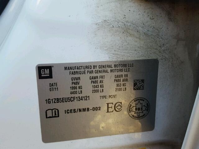 1G1ZB5EU5CF134121 - 2012 CHEVROLET MALIBU LS WHITE photo 10