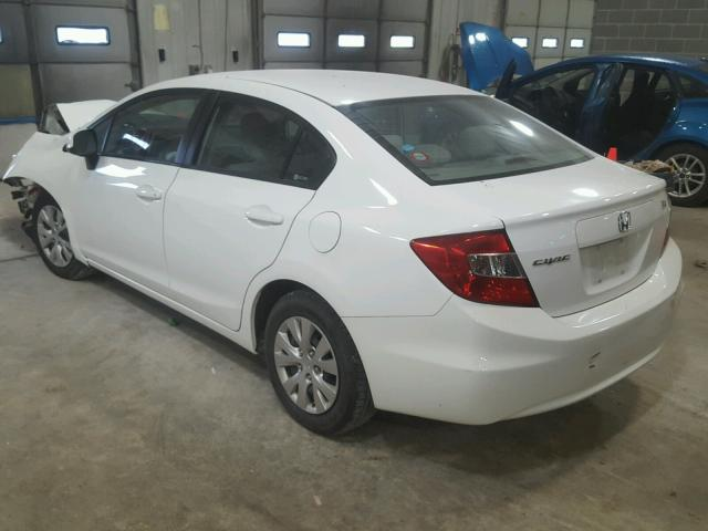 19XFB2F55CE028651 - 2012 HONDA CIVIC LX WHITE photo 3