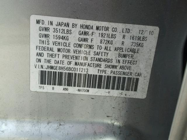 JHMGE8H56BC011213 - 2011 HONDA FIT SILVER photo 10