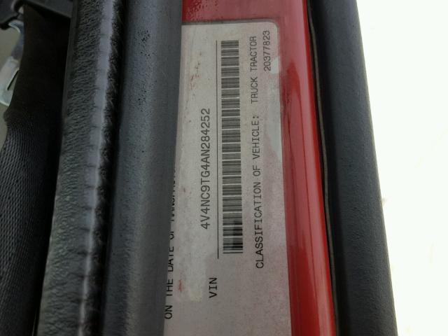 4V4NC9TG4AN284252 - 2010 VOLVO VN RED photo 10
