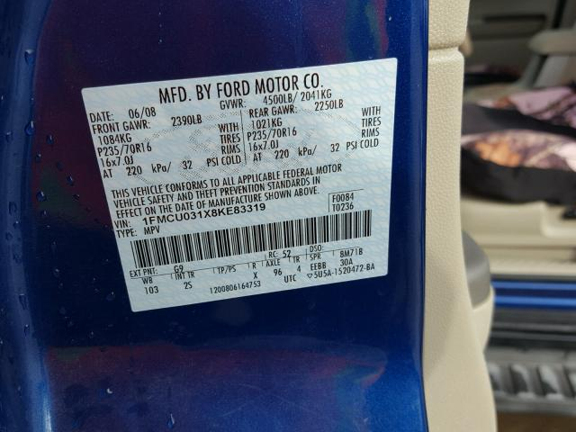 1FMCU031X8KE83319 - 2008 FORD ESCAPE BLUE photo 10