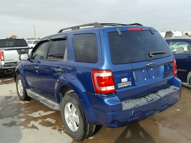 1FMCU031X8KE83319 - 2008 FORD ESCAPE BLUE photo 3