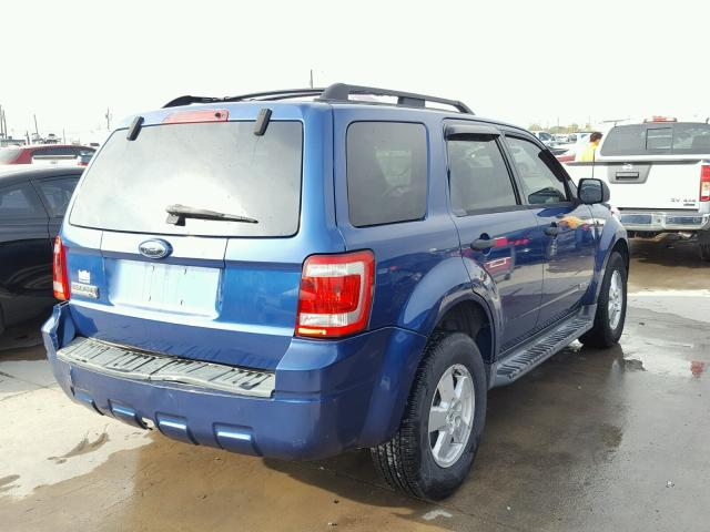 1FMCU031X8KE83319 - 2008 FORD ESCAPE BLUE photo 4
