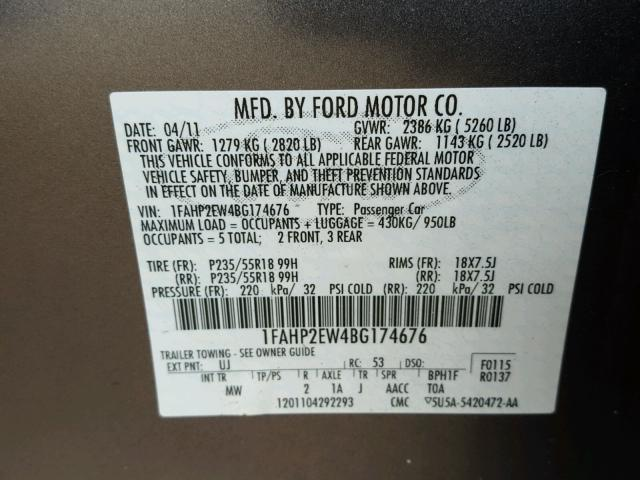 1FAHP2EW4BG174676 - 2011 FORD TAURUS GRAY photo 10
