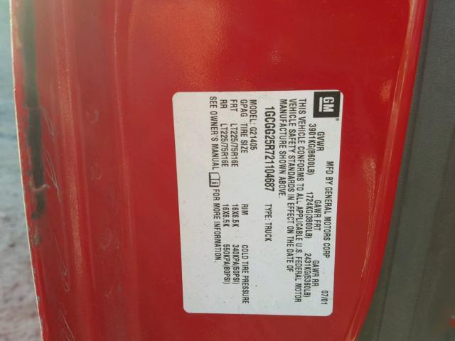 1GCGG25R721104687 - 2002 CHEVROLET EXPRESS G2 RED photo 10