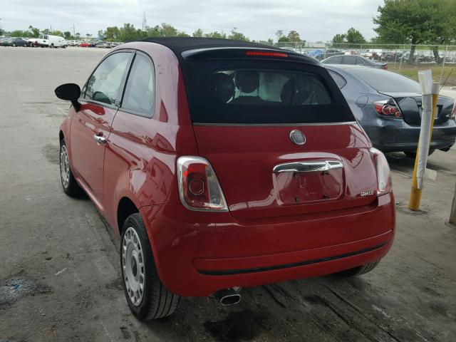 3C3CFFDR8CT203477 - 2012 FIAT 500 POP RED photo 3