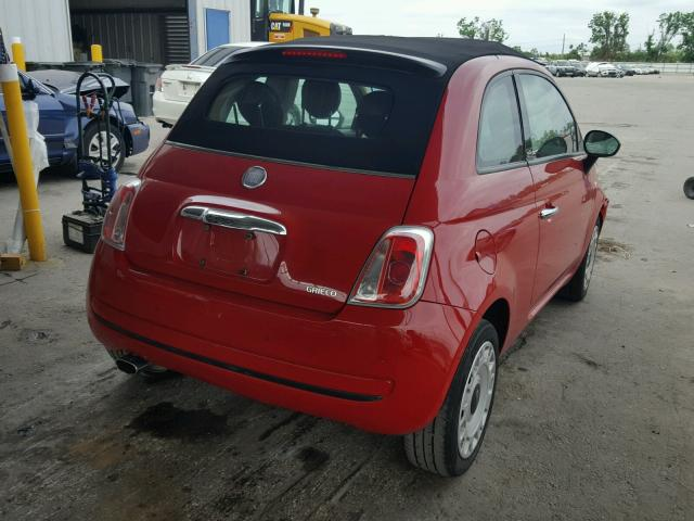 3C3CFFDR8CT203477 - 2012 FIAT 500 POP RED photo 4