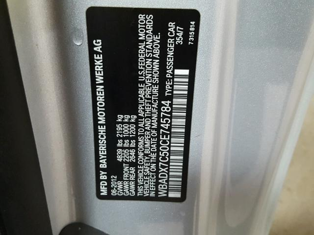 WBADX7C50CE745784 - 2012 BMW 335 I SILVER photo 10