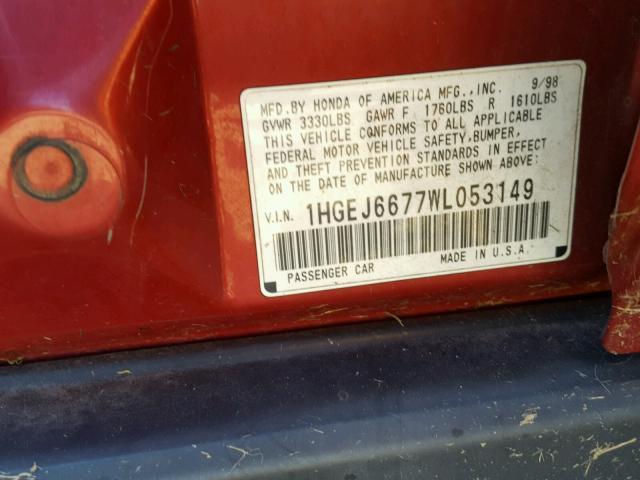 1HGEJ6677WL053149 - 1998 HONDA CIVIC LX RED photo 10