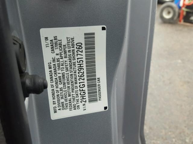 2HGFG12629H517260 - 2009 HONDA CIVIC LX SILVER photo 10