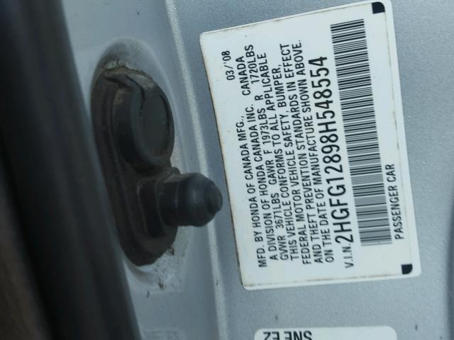 2HGFG12898H548554 - 2008 HONDA CIVIC EX SILVER photo 10