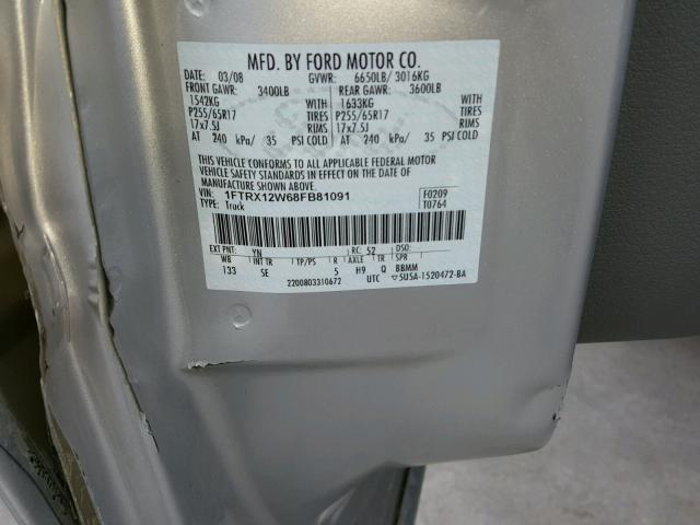 1FTRX12W68FB81091 - 2008 FORD F150 SILVER photo 10