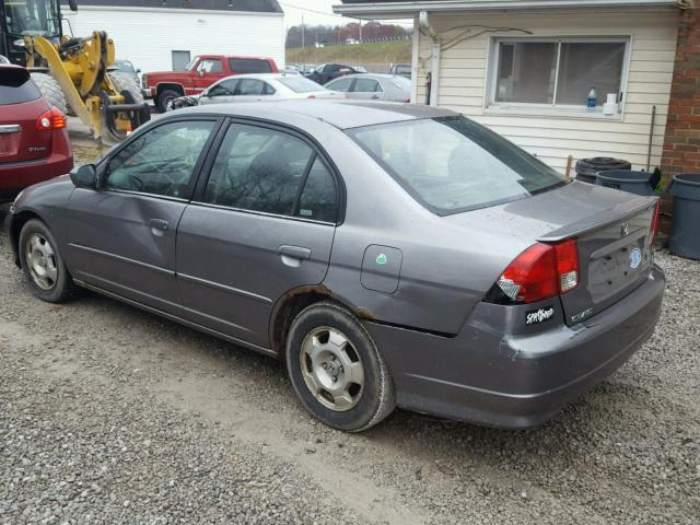JHMES96654S021628 - 2004 HONDA CIVIC HYBR GRAY photo 3