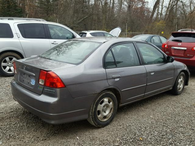 JHMES96654S021628 - 2004 HONDA CIVIC HYBR GRAY photo 4