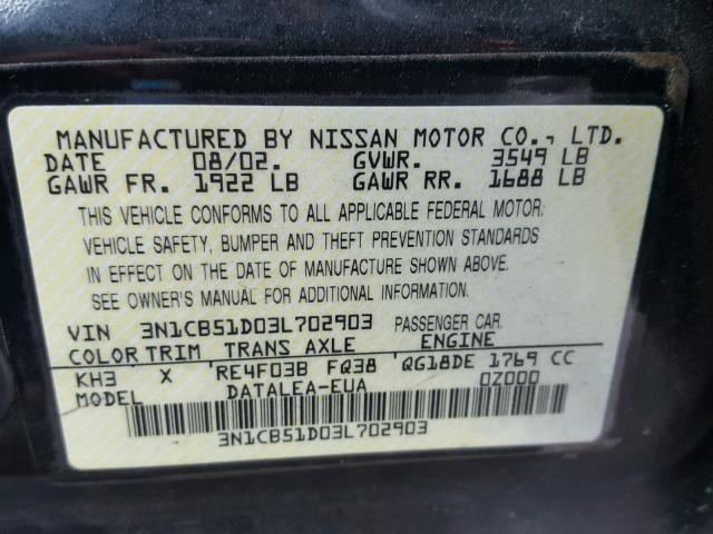 3N1CB51D03L702903 - 2003 NISSAN SENTRA XE BLACK photo 10