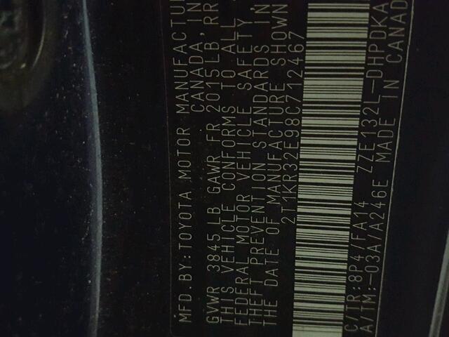 2T1KR32E98C712467 - 2008 TOYOTA COROLLA MA BLUE photo 10